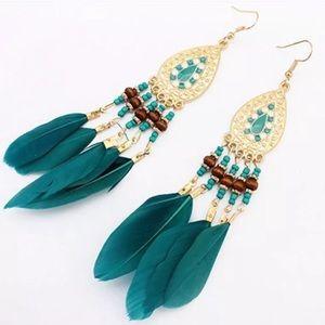 Last 1! Boho Feather Bead Drop Earrings!